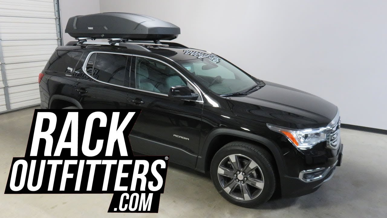 gmc acadia with thule force xt xl 18 cf roof top cargo luggage box