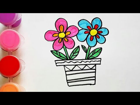 Рисуем цветы в горшке. Раскраска для малышей. Легкие ...