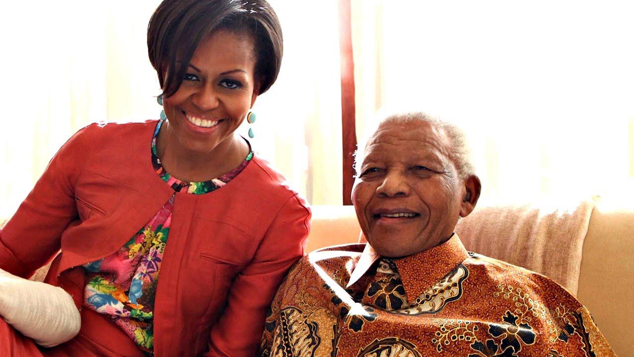 Michelle Obama meets Nelson Mandela