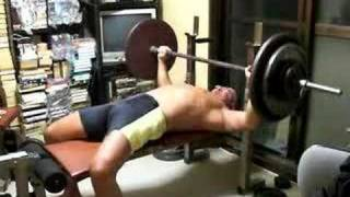 Bench press alone at home, failed after 95kg(209lb) x7