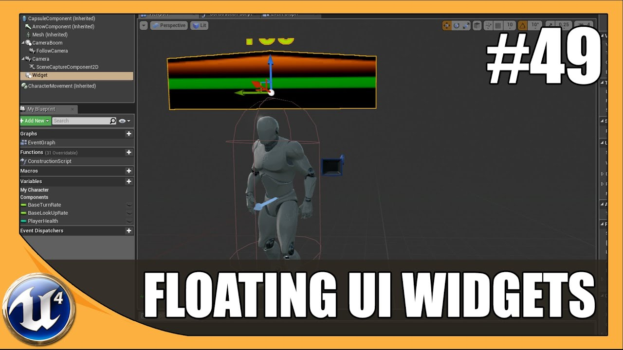 Floating UI Widget Component - #49 Unreal Engine 4 Beginner Tutorial Series
