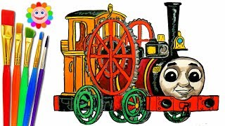 How to DRAW TRAIN Theo Thomas and Friends Coloring Pages Train Video for Children