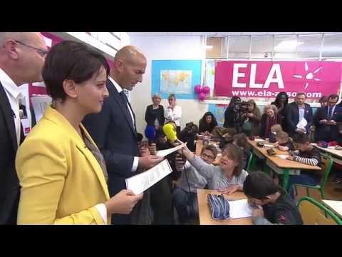 Lecture de la 12ème Dictée d'ELA par Najat Vallaud-Belkacem, Zinédine Zidane et Amélie Nothomb