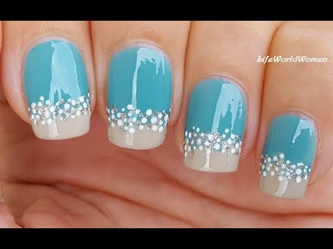 TOOTHPICK NAIL ART ... - TOOTHPICK NAIL ART #31 / Beach Inspired Turquoise Nails - YouTube