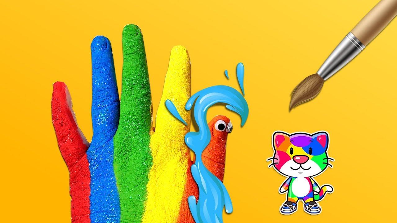 Renkleri öğreniyorum Türkçe Parmak Ailesi çocuk şarkıları El Boyama