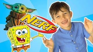 Раскраски Превращаются в игрушки. Цветные рисунки раскраски SpongeBob Nerfs Yoda BB-8