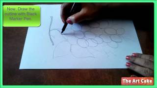 Grapes Drawing and Painting  Part  1  How to Draw Grapes in simple steps Drawing Tutorial for childr