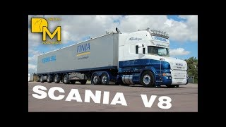 SCANIA V8 TRUCK PURE ENGINE SOUND CRAZY LOUD PIPE ON THE ROAD