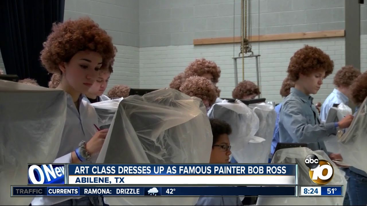 Art Class Dresses Up As Famous Painter Bob Ross Youtube