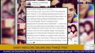 Sandy Andolong giklaro ang 'fiance' post