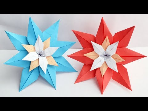 Colored Big Paper FLOWER   Lily Origami   Tutorial DIY