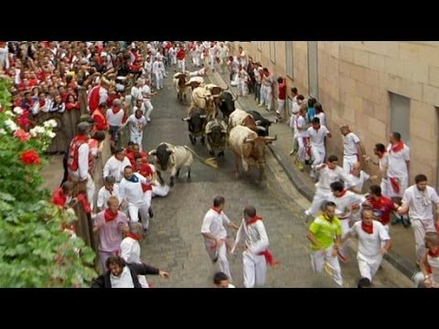 Primer Encierro San Fermin Pamplona dia 7 de Julio 2014 GRACIAS A TVE