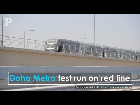 Doha Metro train does test run on red line