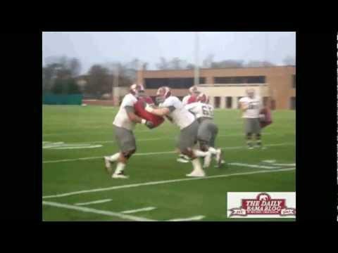 Barrett Jones, Darius Hanks practice at Alabama before 2011 Iron Bowl