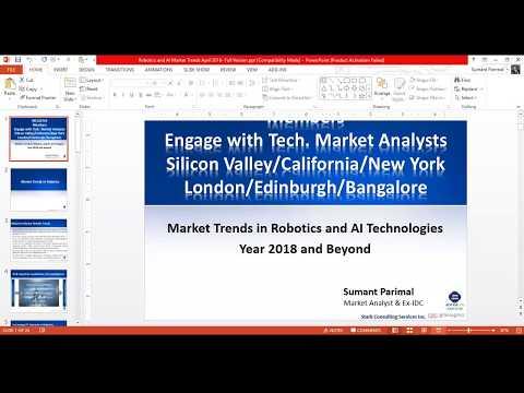 Market Trends in Robotics and AI Technologies Webinar Presentation on 13th April 2018