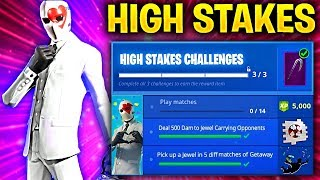 Fortnite HIGH STAKES CHALLENGES! – HOW TO COMPLETE FAST, FREE REWARDS (GETAWAY LTM + WILD CARD SKIN)
