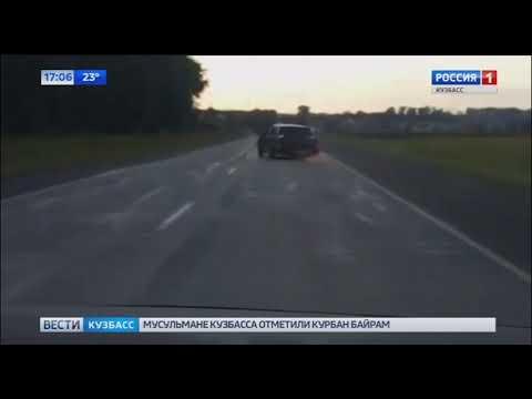 В Кузбассе автомобиль ехал по трассе без заднего колеса