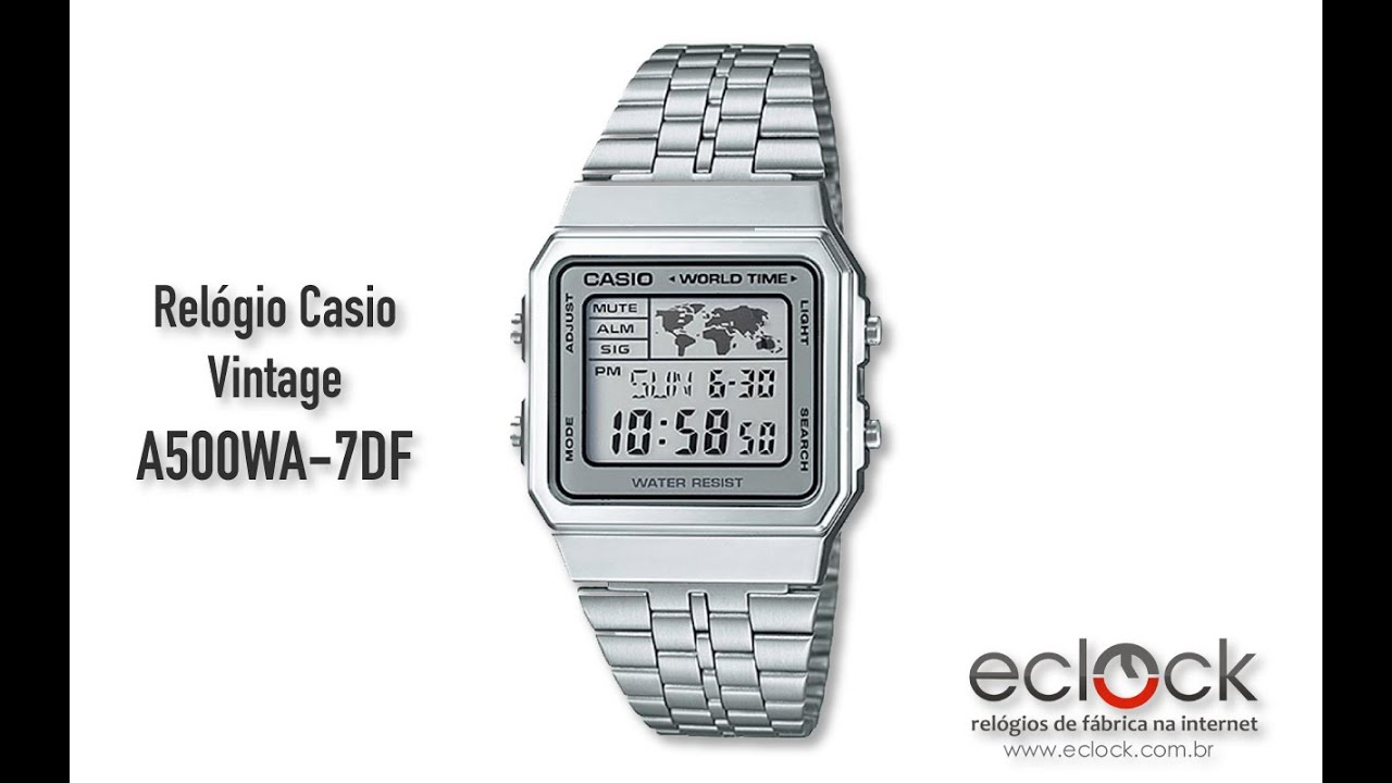 8aa0da7e3da Relógio Casio Vintage A500WA-7DF - Eclock - YouTube