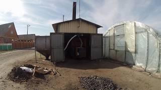 Котел 250  квт на отоплении теплиц весной. Отопление пеллетным котлом.