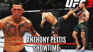 "Anthony Showtime Pettis! Incredible ""Two Touch"" Kick Knockout! EA Sports UFC 3 Online Gameplay"