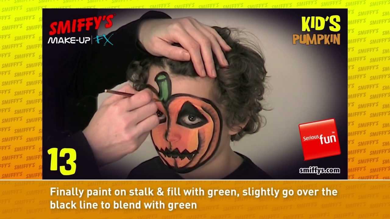 Pumpkin Halloween Face Painting Make-up Tutorials for Children ...