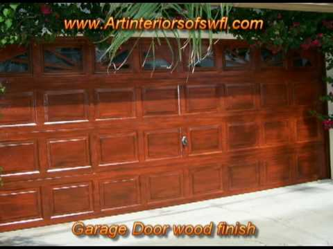 Garage door makeover before after wood finish youtube for Garage door finishes