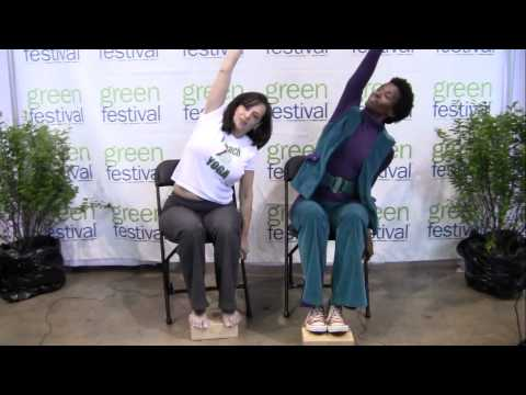 Bianca Alexander (Conscious Planet Media) Learns Chair Yoga with Janet Fender of Santosh Yoga