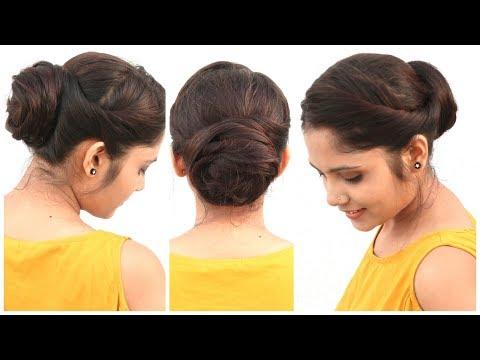 2 Min Easy Bun Hairstyle For Medium Hair for School