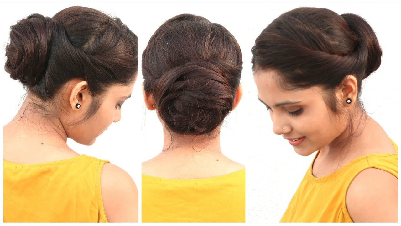 12 Min Easy Bun Hairstyle For Medium Hair  DIY Quick Hairstyle For School,  College & Work