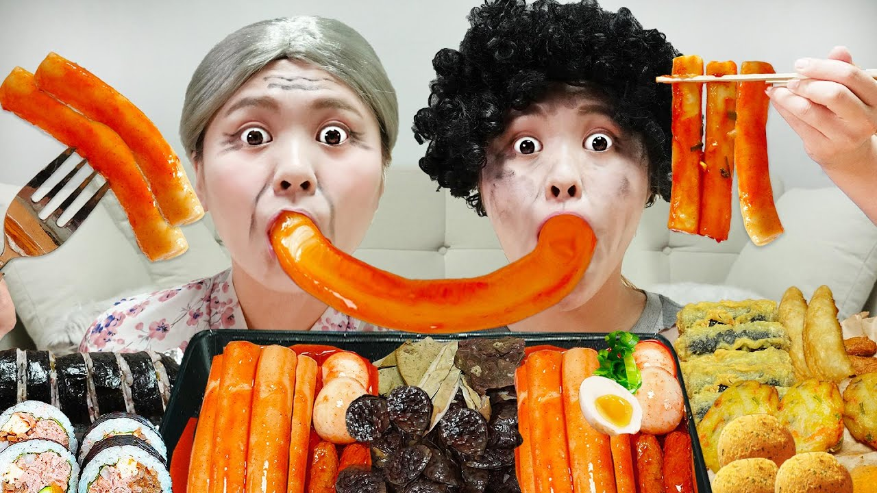 Download MUKBANG Spicy Tteokbokki EATING and sundae gimbap Cheese balls by HIU 하이유
