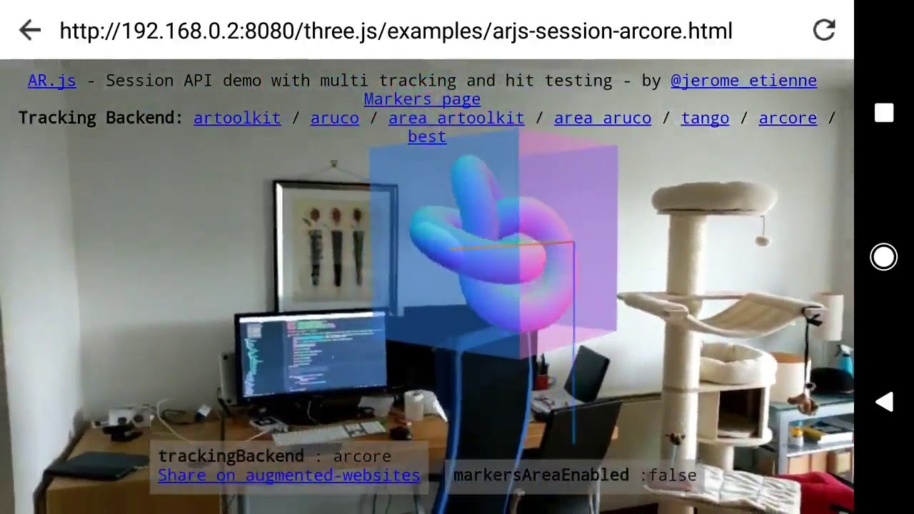 AR js on ARcore first version