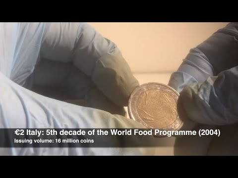 2 Euro Coin Roll Hunt Crh 27 2 Italy 5th Decade Of The World Food Programme 2004 Youtube