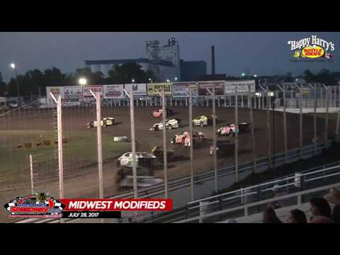 Happy Harry's Midwest Modified Highlights - July 28, 2017 - River Cities Speedway