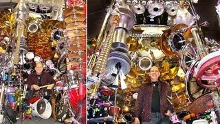 Rocking Reverend Has World's Biggest Drum Kit, He Can Hit All 813 Pieces Without Leaving His Chair.