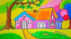 Gambar Mewarnai Rumah Dengan Crayon Gambar Mewarnai