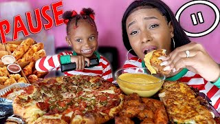 LAYLA OVER DID THIS PAUSE CHALLENGE + CHEESY DOMINOS MUKBANG + CHEESY SPICY CHICKEN WINGS MUKBANG