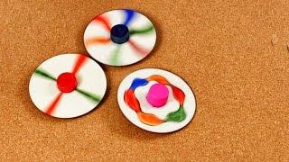 Cómo hacer Trompos con CDs - Juguetes con Material Reciclado - Fácil y Divertido