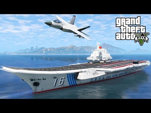 GTA 5 CV-16 Chinese Aircraft Carrier Mod | Launching & Recovering Planes | Working Arresting Cables
