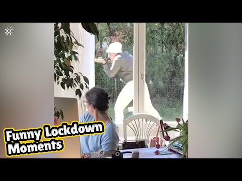 Remote worker mum fights laughter as kids clown around behind her. | Funny Lockdown Moments