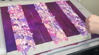 Purple Triptych Abstract Acrylic Painting using Masking Tape