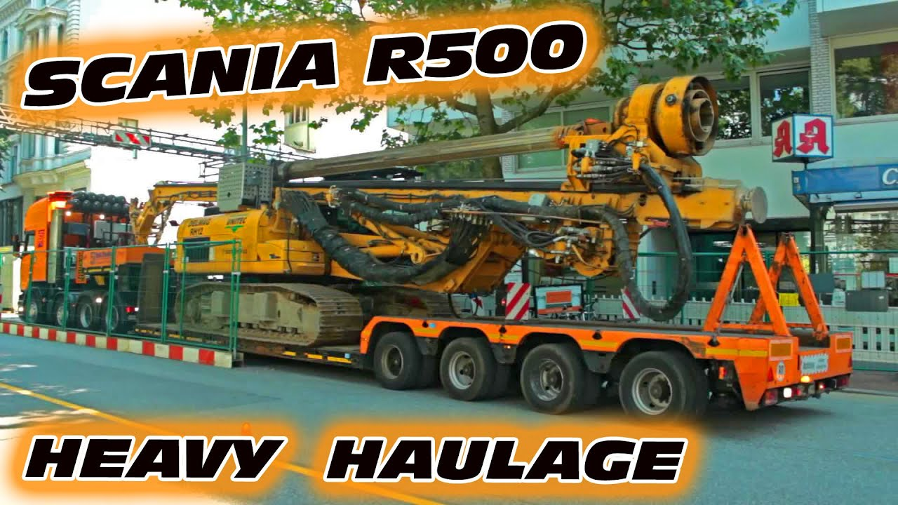 Scania Schwertransport Mit Caterpillar Bohrger T Rolf