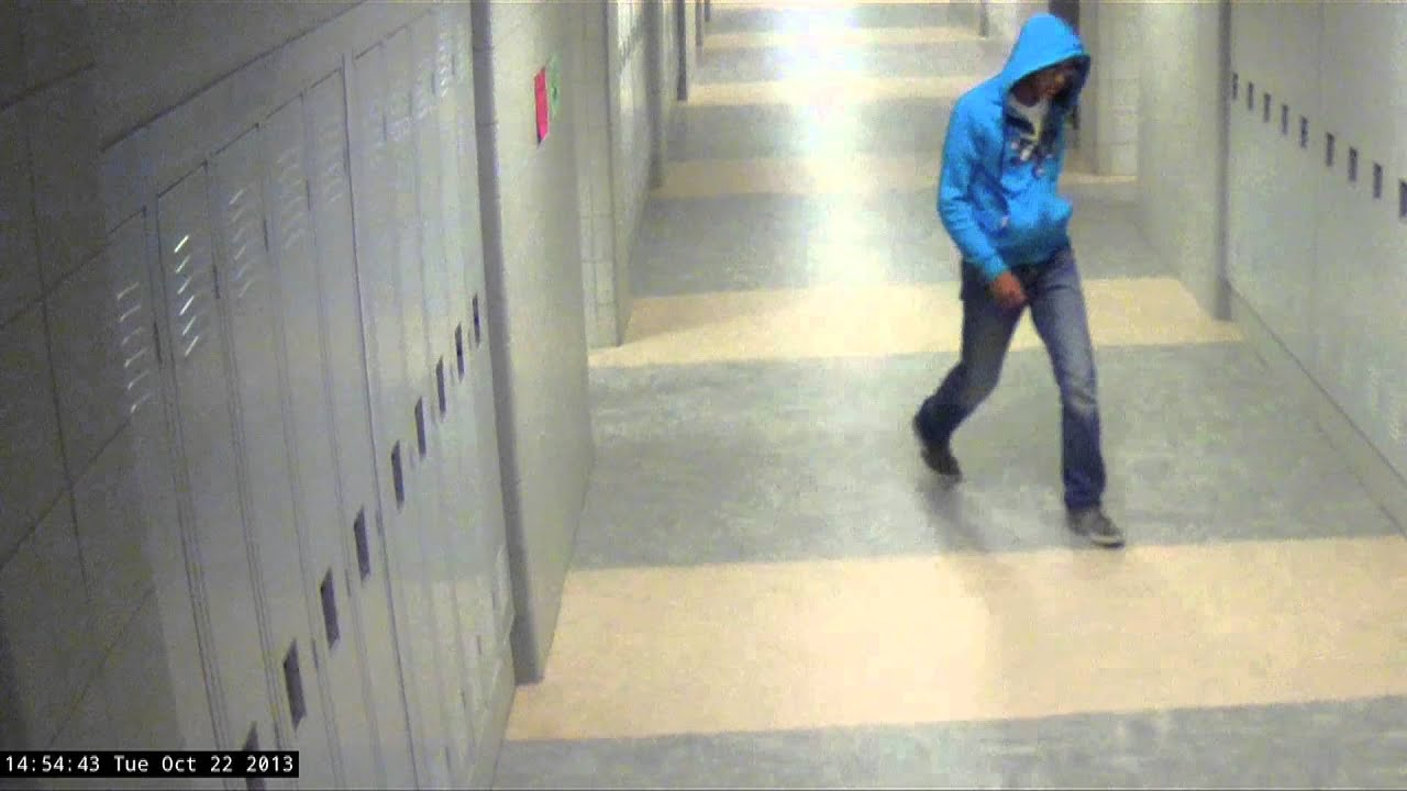 A screenshot from surveillance video from Philip Chism trial.