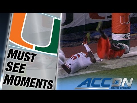 Miami WR Phillip Dorsett Ridiculous TD Catch in Back of End Zone | ACC Must See Moment
