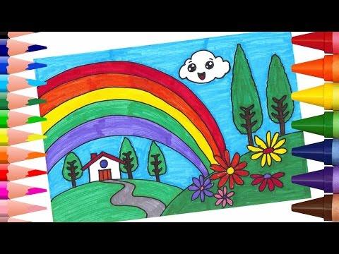 تعليم الرسم والتلوين للاطفال - تعلم كيف ترسم منظر طبيعي مع قوس قزح - التلوين بالاقلام اللبدية