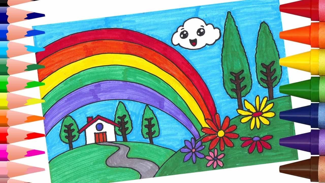 تعليم الرسم والتلوين للاطفال تعلم كيف ترسم منظر طبيعي مع قوس قزح التلوين بالاقلام اللبدية