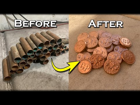 Turn Scrap COPPER Pipes Into Custom Golden Coins At Home - Custom Coins Made Easy