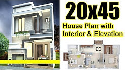 20x45 House plan with Interior & Elevation complete details