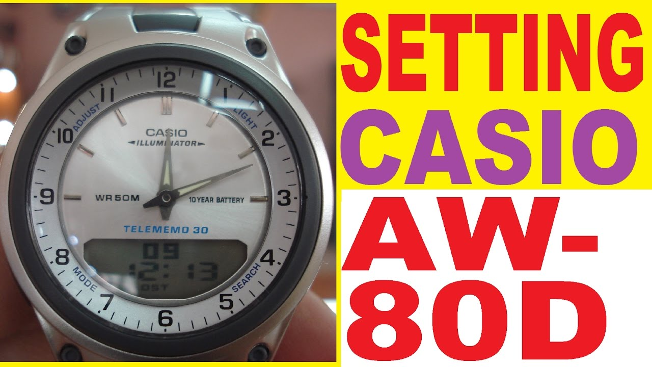 b97b350d64cd Setting Casio AW-80D-7A manual for use - YouTube