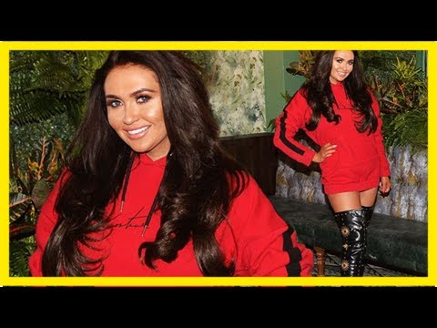 Leggy charlotte dawson ravishing in red hoodie and thigh-high boots