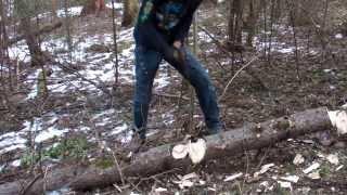 Топор Плотник в работе (без романтики)(Спонтанный тест на скорость перерубания ствола дерева топором Плотник. - - - Подробности на сайте: http://bulat-sib.ru..., 2014-03-05T10:10:28.000Z)